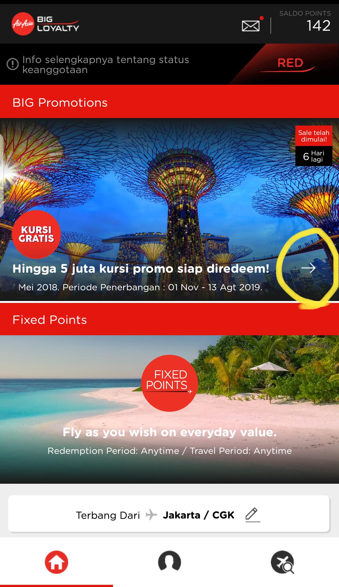 Sekedar Tips Cara Mendapatkan Kursi Gratis Air Asia Transforjim Airasia Big Poin Point Klik Di Lingkaran Kuning